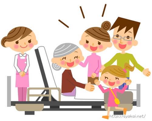 老人福祉施設に入所する老人と家族。介護福祉の職場