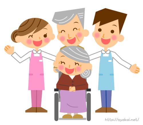 介護福祉士の男性と女性、おじいちゃんとおばあちゃん