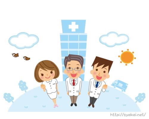 病院で働く職業(ナース・医師・理学療法士)