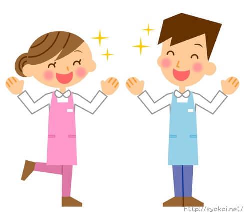 エプロン姿の介護職員の男性女性